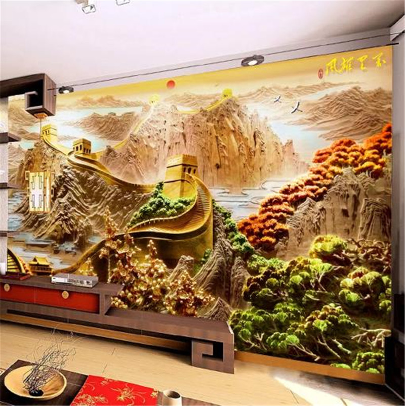 Custom Any Size 3D Wallpaper Wanli Xiongfeng embossed Great Wall living room TV background wall  Mural WallpaperCustom Any Size Custom Any Size 3D Wallpaper Wanli Xiongfeng embossed Great Wall living room TV background wall  Mural WallpaperCustom Any Size