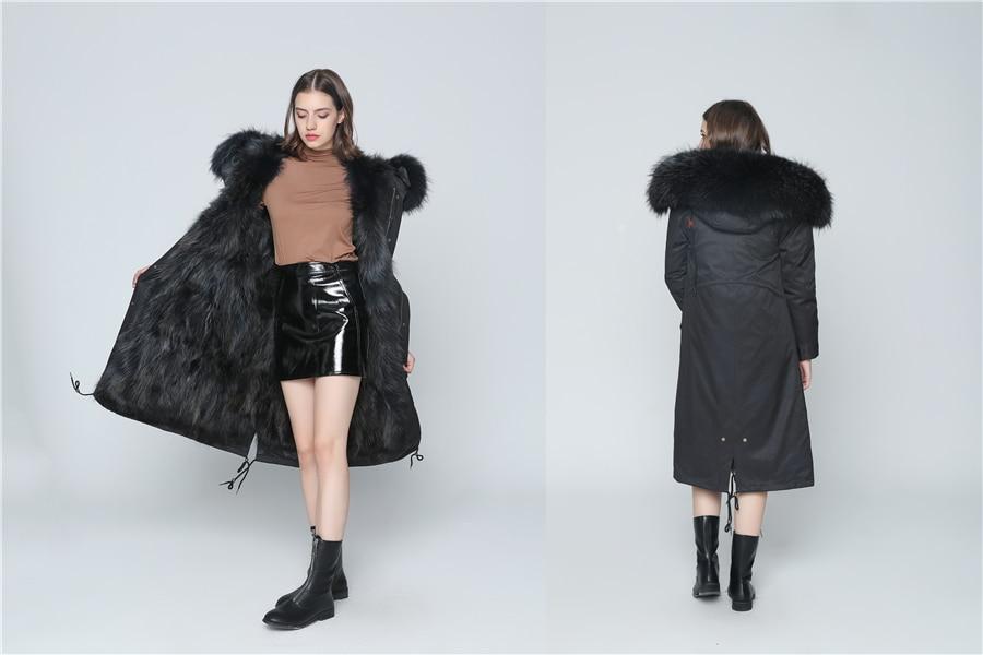 2019 Real Fur Coat Winter Jacket Women Long Parka Waterproof Big Natural Raccoon Fur Collar Hood Thick Warm Real Fox Fur Liner 77