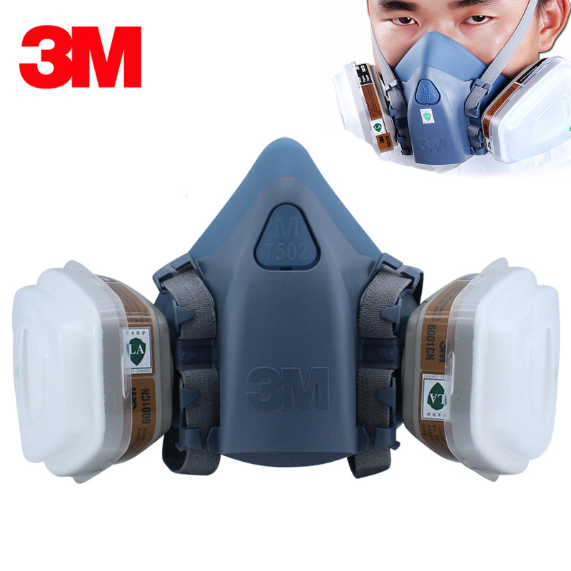3M 7502 7Piece Suit Respirator Painting Spraying Face Gas Mask half face mask for construction/mining 3m 7502 mask 2097 filter genuine high quality respirator face mask painting graffiti polished respirator gas mask