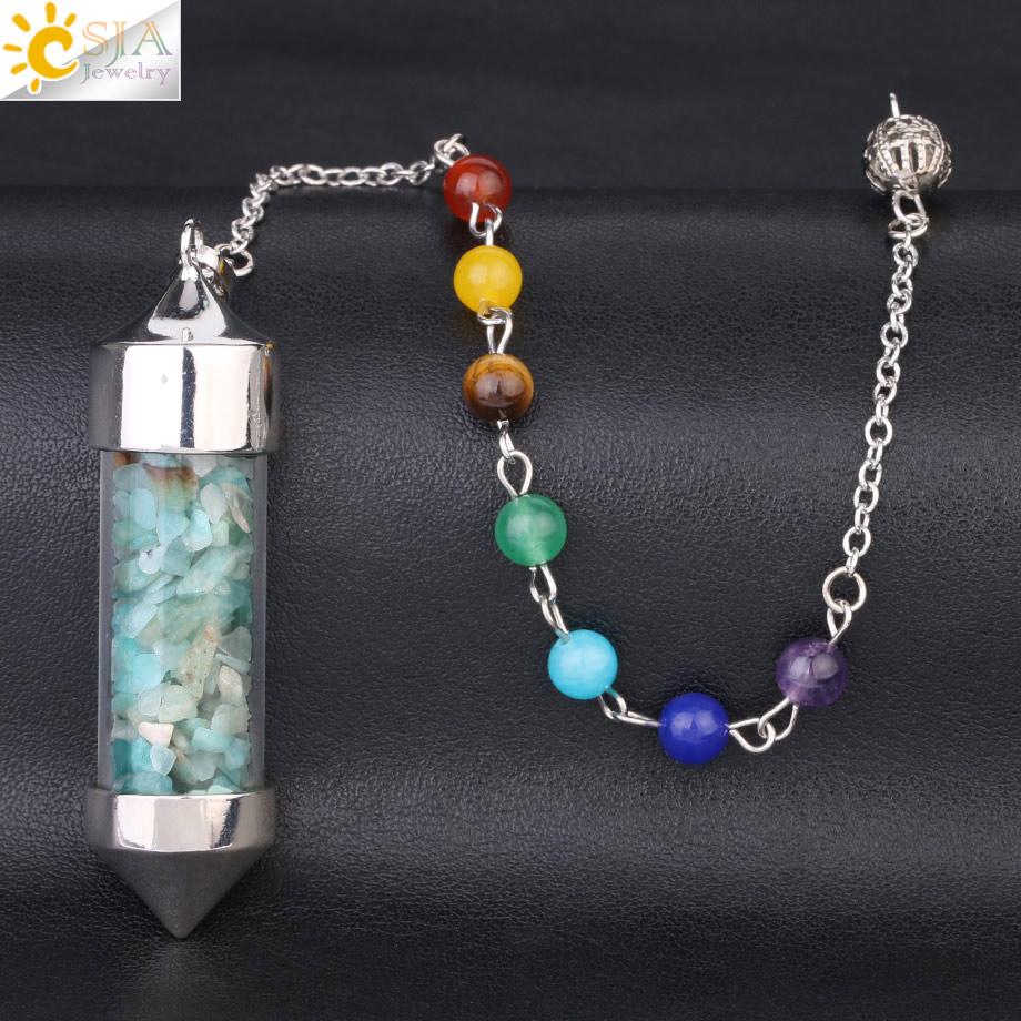 CSJA Новое поступление 7 Чакра Желая бутылка маятник рейки натуральный чип камень кулон ожерелье для женщин мужчин гадания амулет F976 - Окраска металла: Amazon Stone