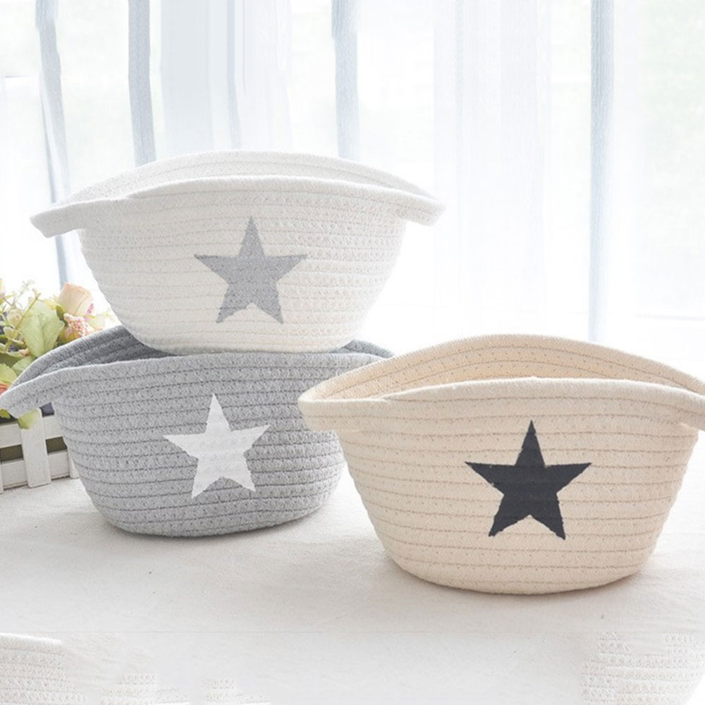 Creative Laundry Basket Storage Baskets Cotton Thread Bags 3 Colors Handmade Knitting 22*13*11cm Space Saving Office Portable