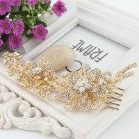 BELLA Flower Rose Gold Plated Wedding Accessories Bridal Hair Comb Piece Clear Austrian Crystal Bridesmaid Headpiece