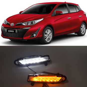 qinyi 1 Set 12V ABS Car LED For Toyota Yaris 2017 2018 DRL Daytime Running Lights Daylight With Turn Yellow Signal Lights