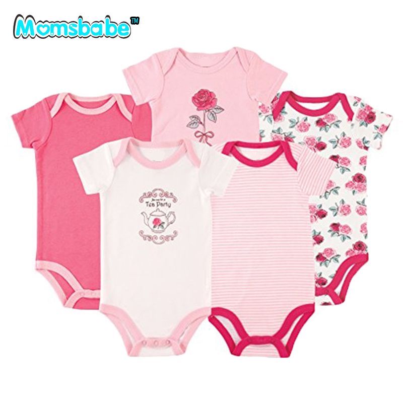 5PCS 100%Cotton Baby Rompers Baby Boy Clothes Baby Gift Short Sleeve new in 2017 Newborn Jumpsuit Baby Clothing Romper Wear newborn baby boys girls rompers infant short sleeve cotton jumpsuit clothing mama s boy printed summer clothes boy romper