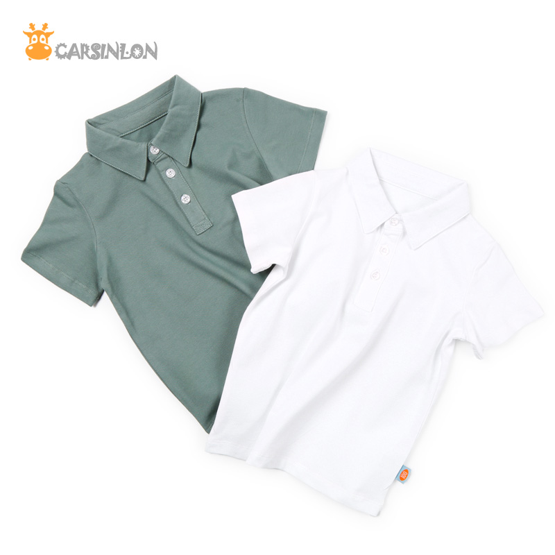 High Quality Kids Boys Polo Shirt Summer Short Sleeved Cotton Thin Solid Breathable Fabric Children White Sports Tops Tee