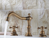 fashion Europe style high quality total brass antique bathroom widespread basin faucet sink faucet sink faucet