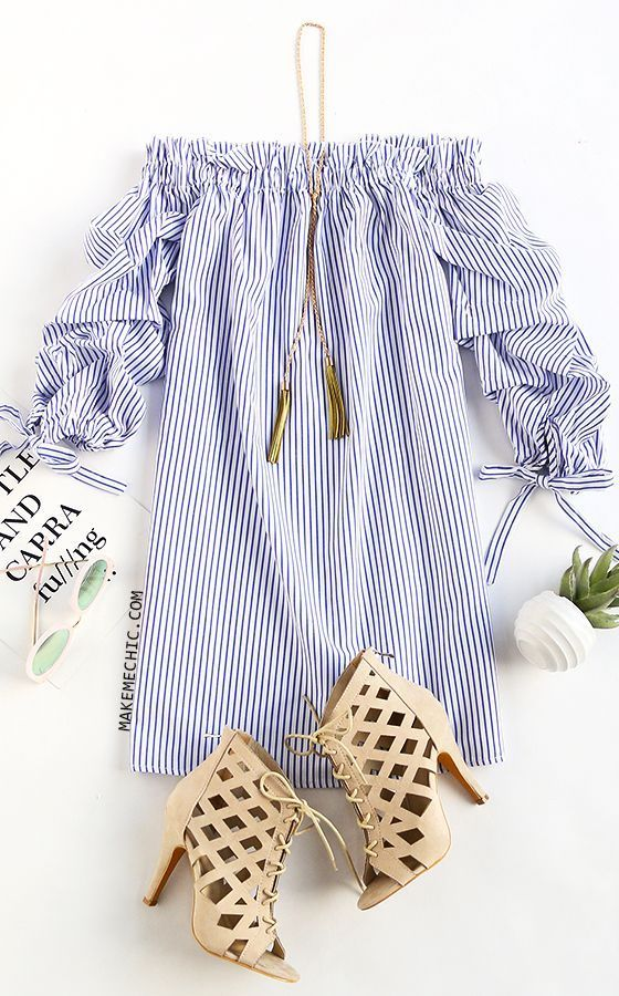 Ladies Long Sleeve Casual Mini Dress Stripes Slash-Necks Fashion Dresess Summer Fashion Women Clothing