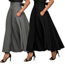 Falda de moda de verano 2018 con bolsillo de alta calidad sólida hasta el  tobillo falda Vintage para mujer Falda larga negra d387bcba6e3e