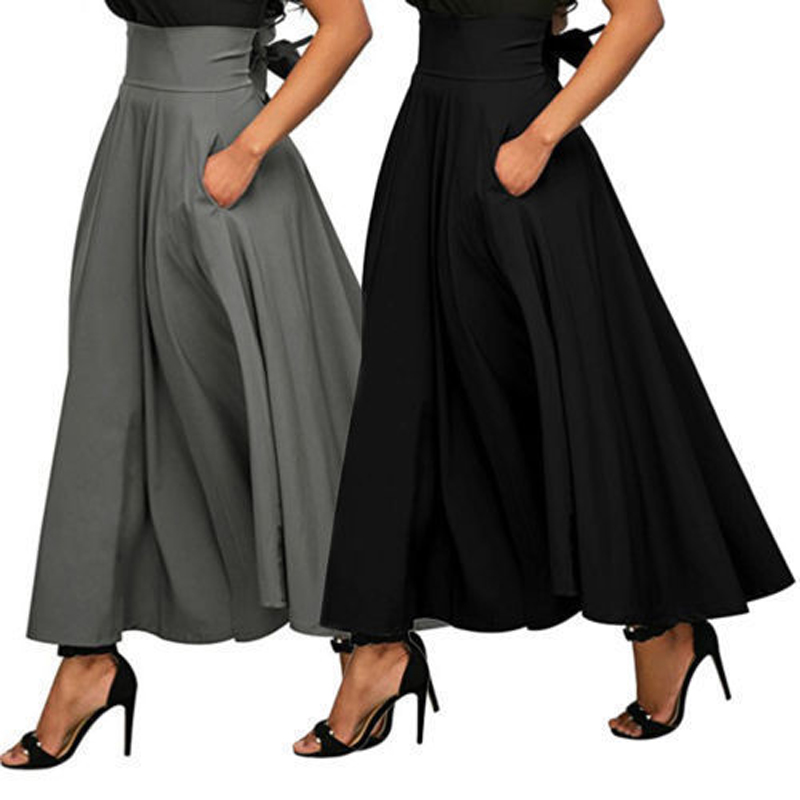 2018 Summer Fashion Skirt With Pocket High Quality Solid Ankle-Length Vintage Skirt For Women Black Long Skirt