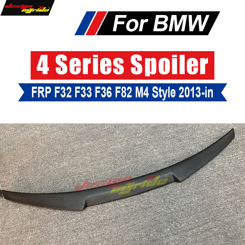 M4 Style F32 Coupe FRP Primer Rear Wing Spoiler for BMW F32 F33 F36 F82 420i 428i 435i 440i 2013-18 Tail Trunk Lid Boot Lip Wing 2pcs new style m performance side skirt sill decal stripe vinyl sticker for bmw 4 series f32 f33 420i 428i 435i