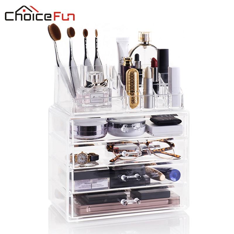 CHOICE FUN Bathroom Transparent Large 4 Drawers Storage Makeup Box Organize Clear Draw Acrylic Cosmetic Organizer Organizador
