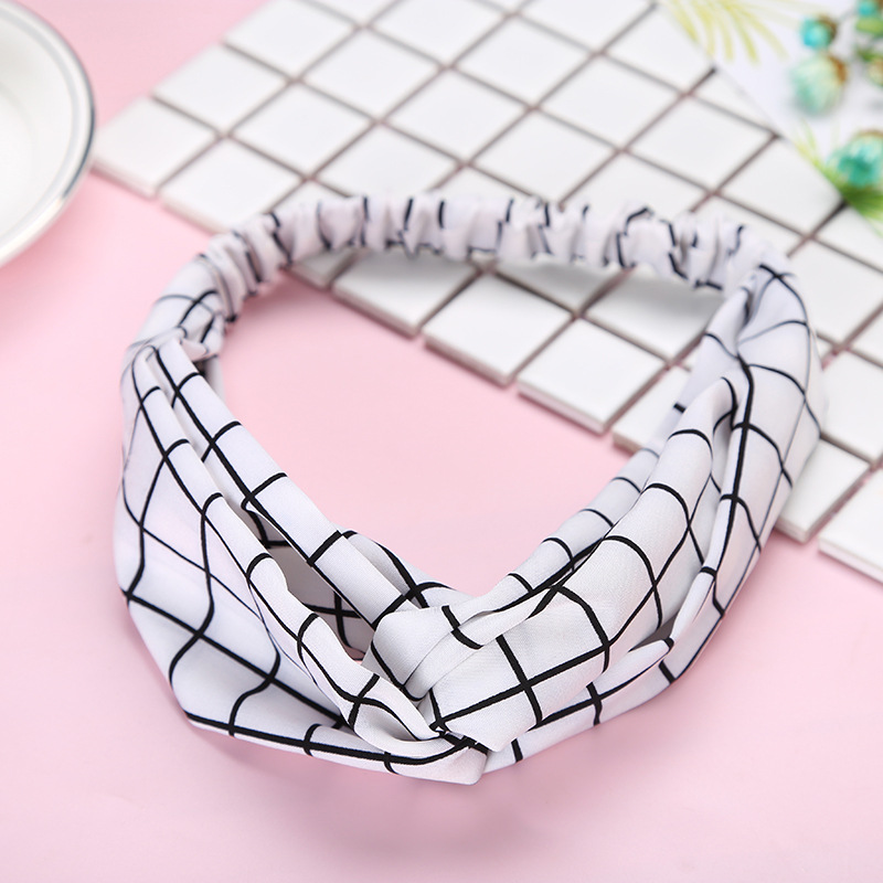Fashion Plaid Knot Headband Turban Elastični Hairband Head Wrap - Oblačilni dodatki