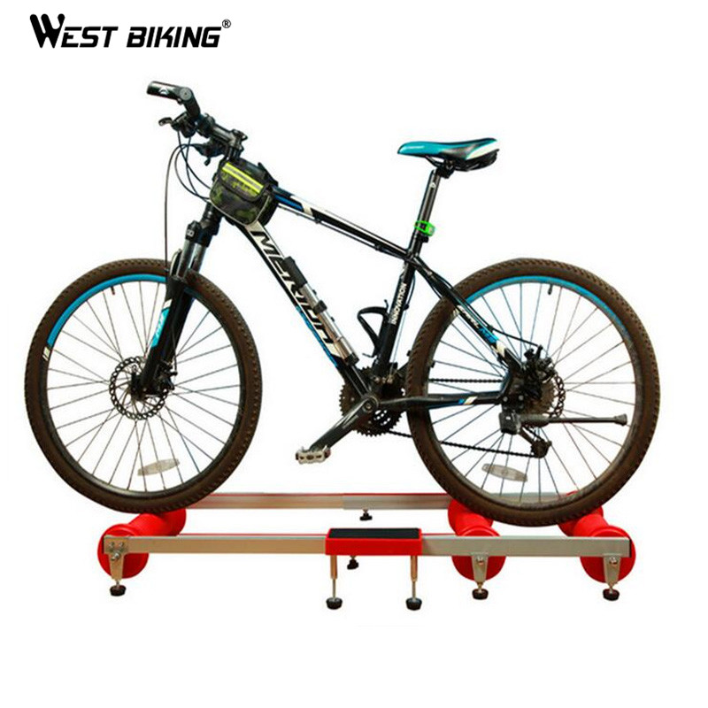 WEST BIKING Antiskid Training Station MTB Road Bike Exercise Bicycles Fitness Station Bike Cycling Bicycle Training Rollers road bicycle exercise fitness station indoor training station mtb bike trainer folding roller training tool 3 stage folding