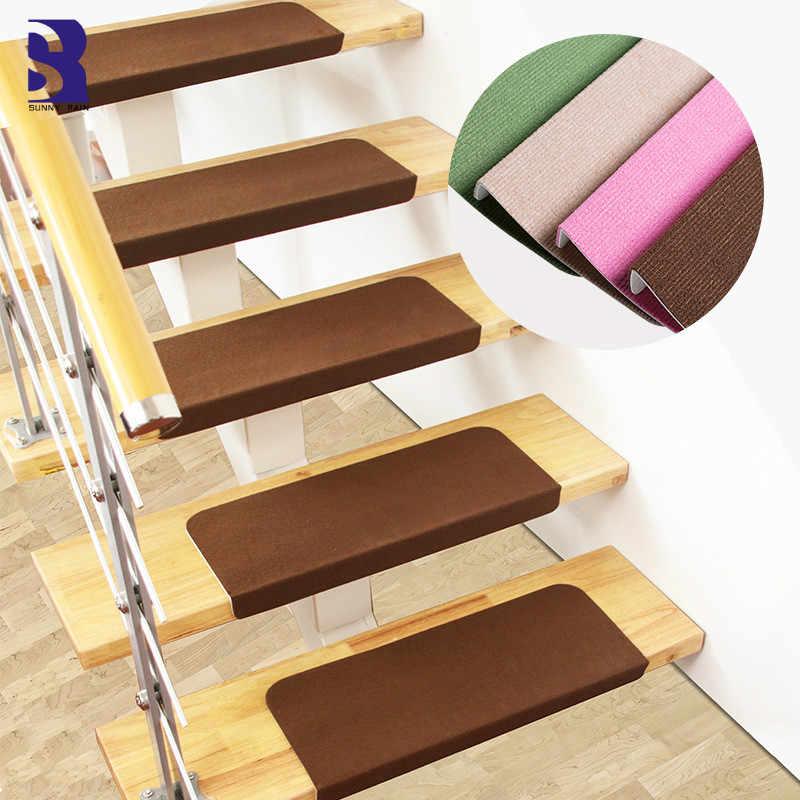 Sunnyrain 13 Piece Free Installation Stair Mat Self Adhesive Stair | Rustic Carpet Stair Treads | Wood | Mat | Non Slip | Wool | Overstock