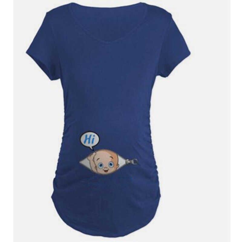 2018 ฤดูร้อนการตั้งครรภ์ตลก T เสื้อสำหรับหญิงตั้งครรภ์ Tees ผู้หญิงเสื้อยืด Slim ฝ้าย Maternity พยาบาล Tops O-Neck ขนาด S-2XL