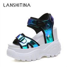 New Woman Sandals 2019 Summer Platform Sneakers Casual Leather Gladiator Sandals 11CM Wedge Heels Shoes Beach High Heels Sandals