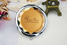 100pcs/Lot+Customized LOGO Yellow Crystal Compact Mirror Autumn Wedding Gift Cosmetic Mirror Favors+FREE SHIPPING
