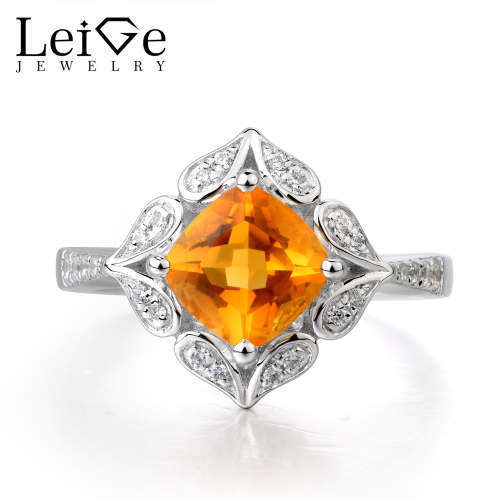 Leige Jewelry Real Natural Citrine Ring Wedding Ring Solid 925 Sterling Silver Luxury Vintage Ring Fine Jewelry Gifts for Lady