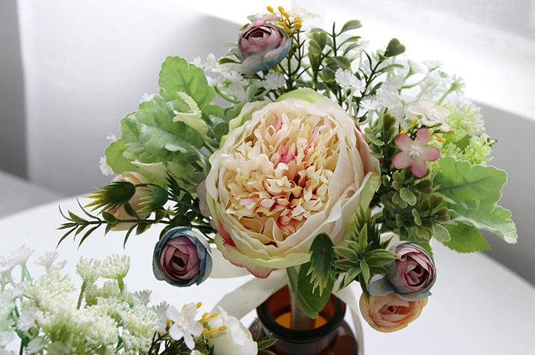 Wedding Bouquet for bridesmaids flowers artificial rose peony (6)