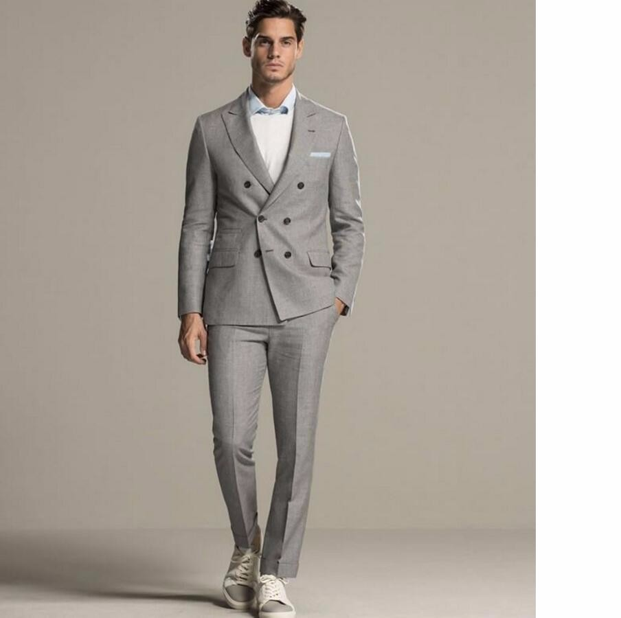 33.1 Latest Designs Light Gray Double Breasted Groom Tuxedos Italian Style Mens Wedding Party Business Suits (Jacket+Pants)