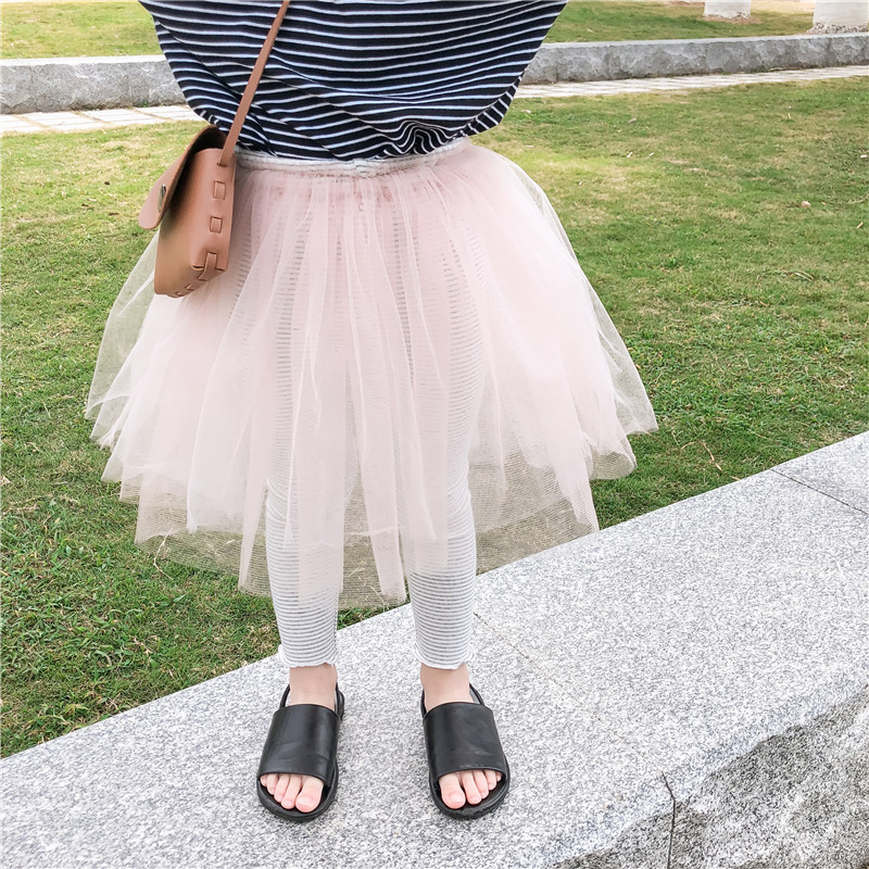 Spring 2019 Kids Bottoming Legging with Tutu Lace Skirts Girls Fake Two Pieces Strip Cotton Pants Baby Kids Half Skirt Trousers
