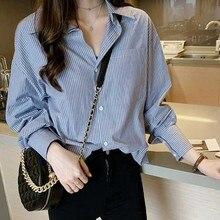 купить Plus Size Vintage Striped Long Sleeve V-neck Blouse Women Autumn Casual Tops Button Fashion Shirts Female Office Work OL Blouse дешево