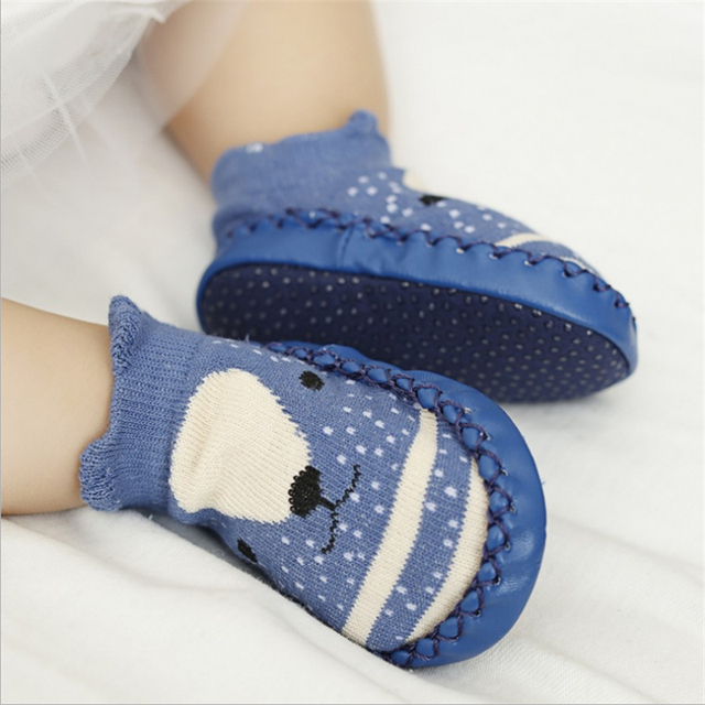 Toddler Baby Sock With Rubber Soles Cartoon Animal Fox Owl