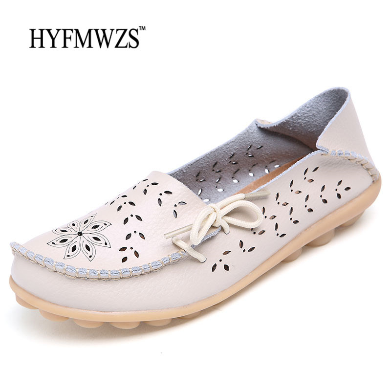 HYFMWZS Big Size 34-44 Women Hole Loafers High Quality Fashion 2017 Flat Shoes Women Peas Shoes Breathable Oxford Leather Shoes fashion tassels ornament leopard pattern flat shoes loafers shoes black leopard pair size 38