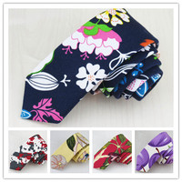 1 Pcs Lot 100 Canvas Ms Male Latest Fashion Printing Narrow Tie High Quality Fine