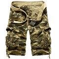 Mens Causal Shorts da carga 2016 de Multi bolso solto Fit Cotton tático militar do exército camuflagem calções Plus Size sem cinto