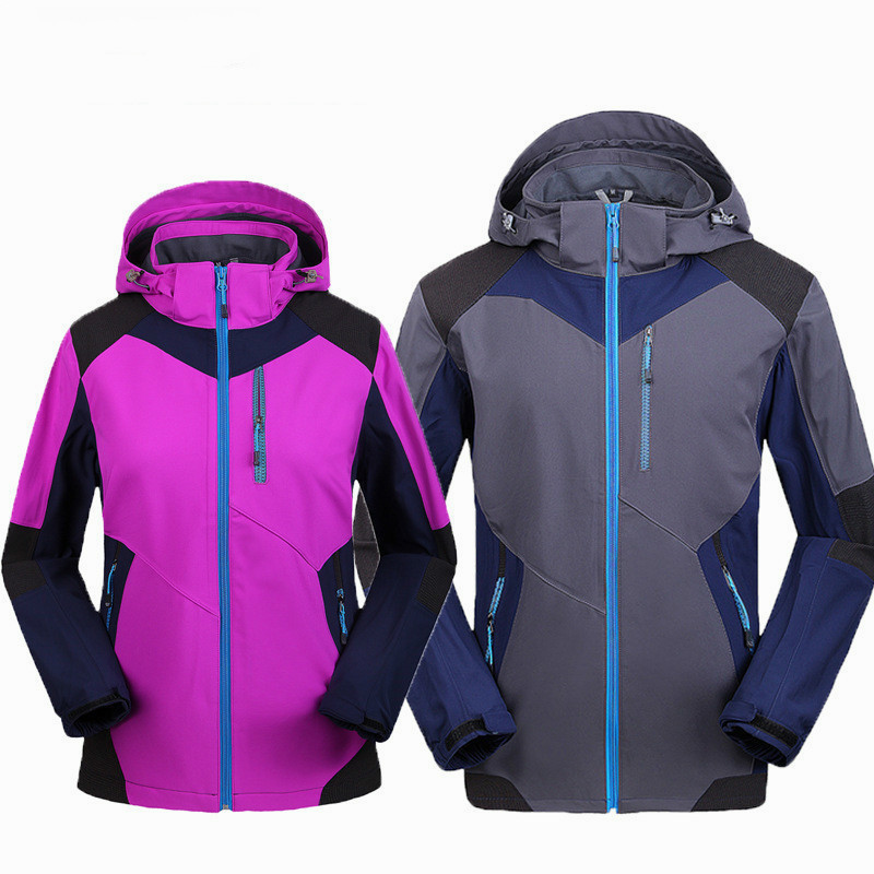 Women&Men Winter Outdoor Hooded Patchwork Softshell Hiking&Ski Jacket Autumn Windproof Inner Fleece Camping Clothes detector men ski jacket hight waterproof mountain hiking camping jacket fleece hight windproof ski jacket