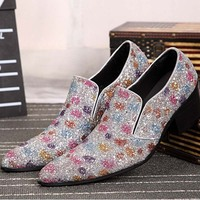 Luxury 2017 New Style Colorful Sequined Men S Shoes Slip On Dress Shoes Handmade Loafer Men