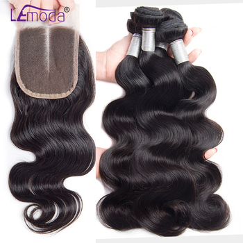 Brazilian Body Wave Virgin Hair Bundles With Closure 4PCS Human Hair Bundles With Closure LeModa Virgin Hair Extensions