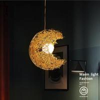 LED Hanging Lamp Nordic Pendant Lights Creative Bird's Nest Light Fixtures Dining Hanglampen Aluminum Glass Pending Lighting