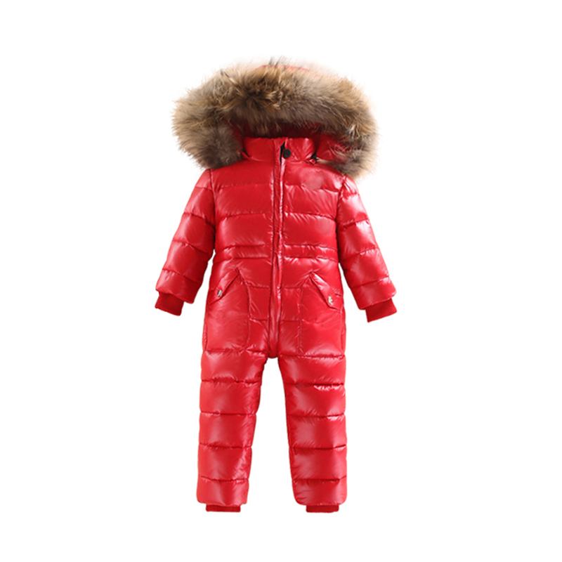 -30 Winter Snowsuit Baby 80% duck Down Romper Outdoor Infant Overcoat Clothes Girls Overall for Boys Kids Jumpsuit 2~6Y puseky 2017 infant romper baby boys girls jumpsuit newborn bebe clothing hooded toddler baby clothes cute panda romper costumes