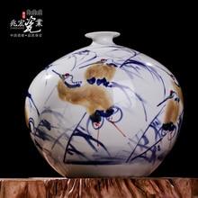 Jingdezhen Zhaohong master hand pastel high-grade porcelain porcelain art antique vase decoration decoration crane цена
