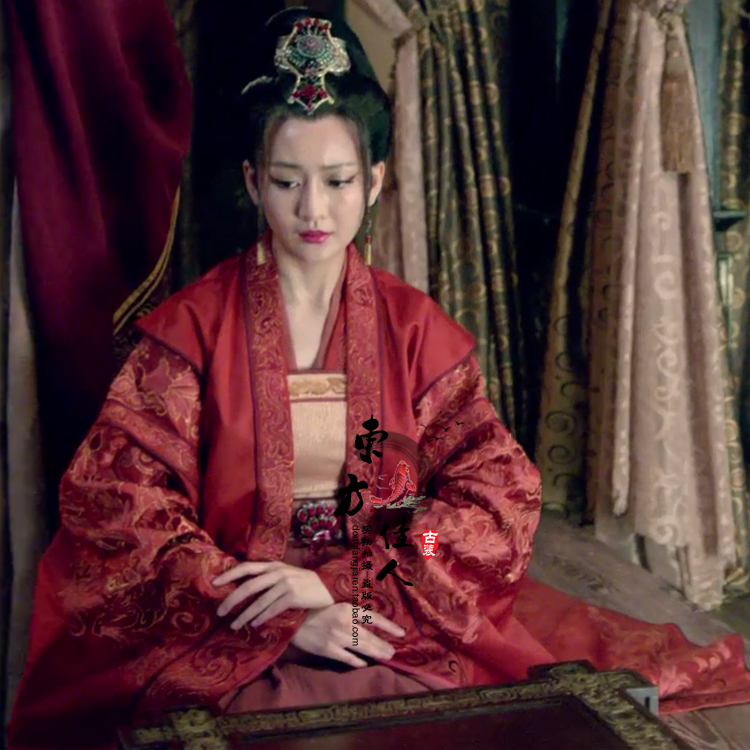 Qin BoRuo 2015 New TV Play Lang Ya Bang Nirvana In Fire  Red Hanfu Costume For Women