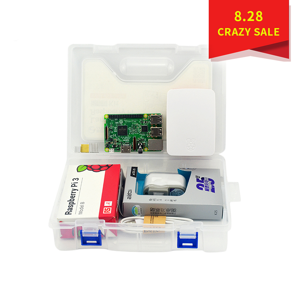 купить Raspberry Pi 3 Model B kit + ABS Case + SD Card + Heat Sink + 5V2.5A Power Adapter for Raspberry Pi 3B по цене 3393.08 рублей