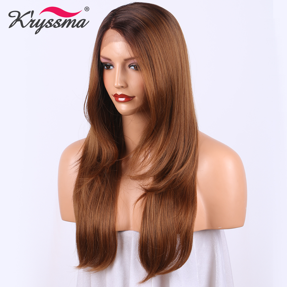Long Straight Brown Wig Ombre Wig with Dark Brown to Light Brown Synthetic Lace Front Wigs
