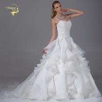 Jeanne Love Luxury New Arrival A Line Wedding Dresses 2017 Robe De Mariage Lace Spaghetti Straps