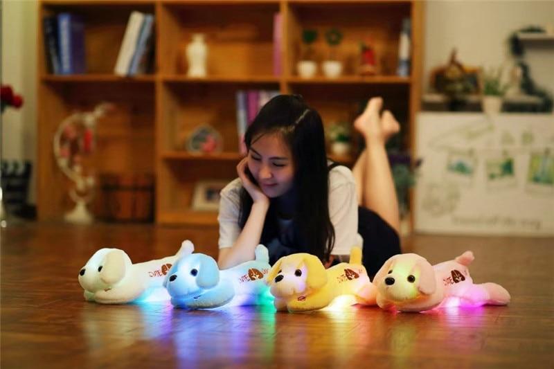 35/50 cm Kawaii Bercahaya Teddy Dog Plush Doll Toys Colorful LED - Boneka dan mainan lunak - Foto 5