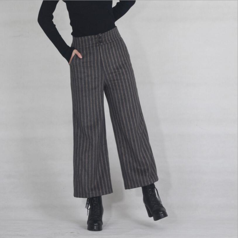 2018 Autumn Winter Women   Pants   Thick Striped Woolen   Wide     Leg     Pants   Capris High Waist Plus Size Slim Casual   Pants   Women LY174