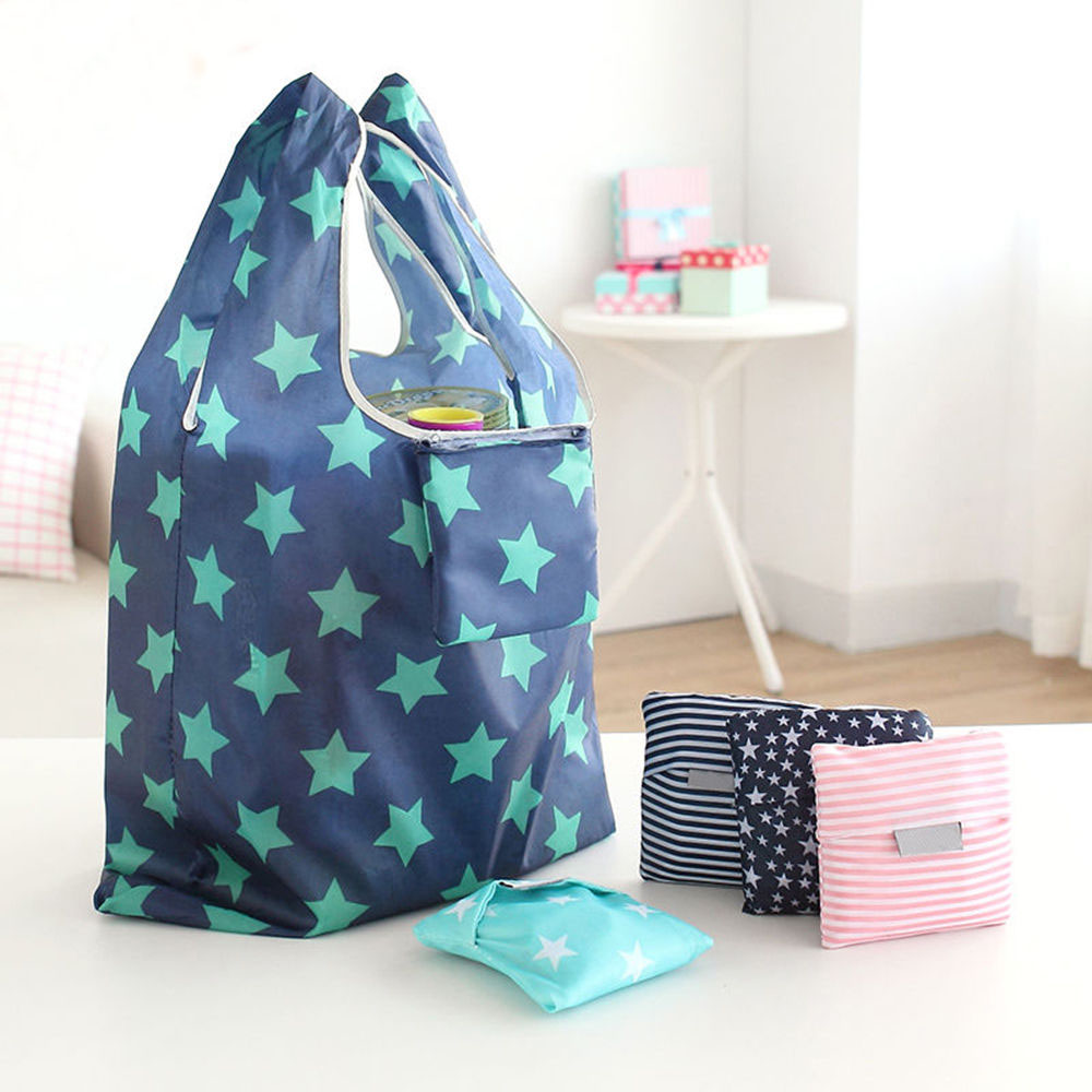 21 Style New Fashion Printing Foldable Green Shopping Bag Tote Folding Pouch Handbags Convenient Large-capacity Storage Bags