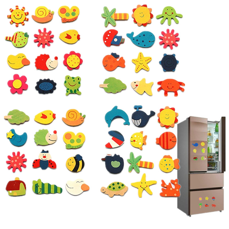 MrY 12pcs/lot Random Wooden Refrigerator Magnet Fridge Stickers Animals Cartoon Colorful Cute Kids Toys For Child Baby Educational