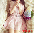 New Brief Women dress Plaid Chiffon Small Lovely Soft Accept Waist Dresses Pink Light Blue 5867