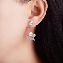 Everoyal New Arrival 925 Silver Drop Earrings For Girl Accessories Fashion Crystal Star Pearl  Women Birthday Jewelry