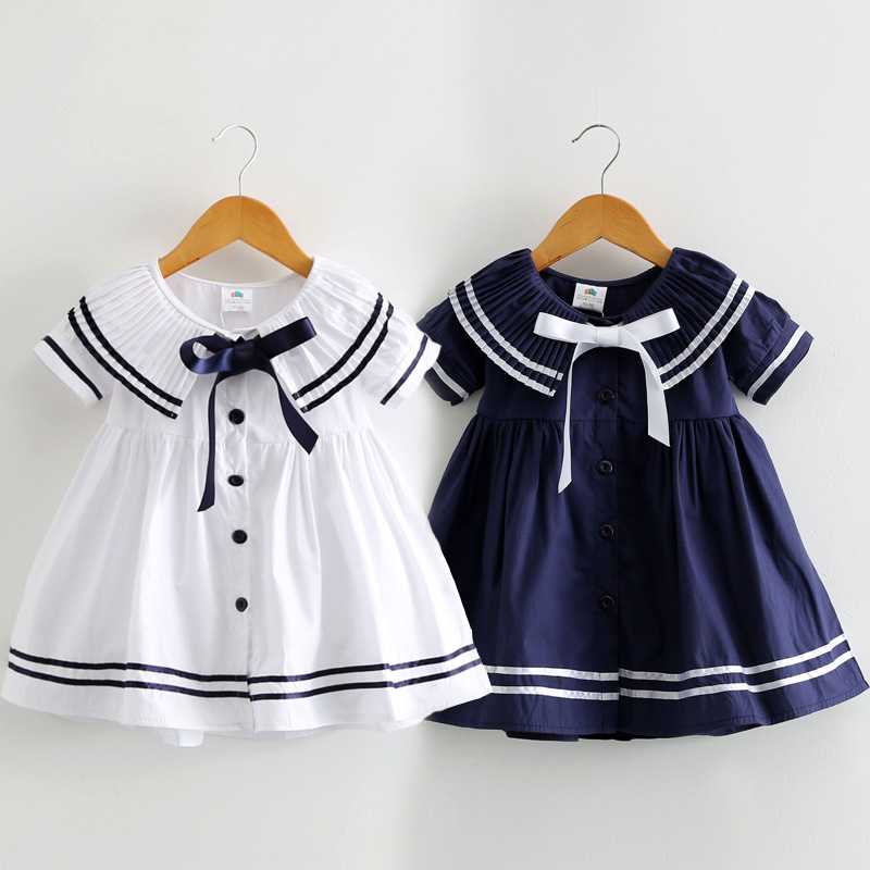 Baby Girl Dress 2018 Fashion Navy Style Baby Clothes Pleated Collar Princess Party Birthday Dresses Sailor Kids Girls Clothes plus pleated button collar blouse