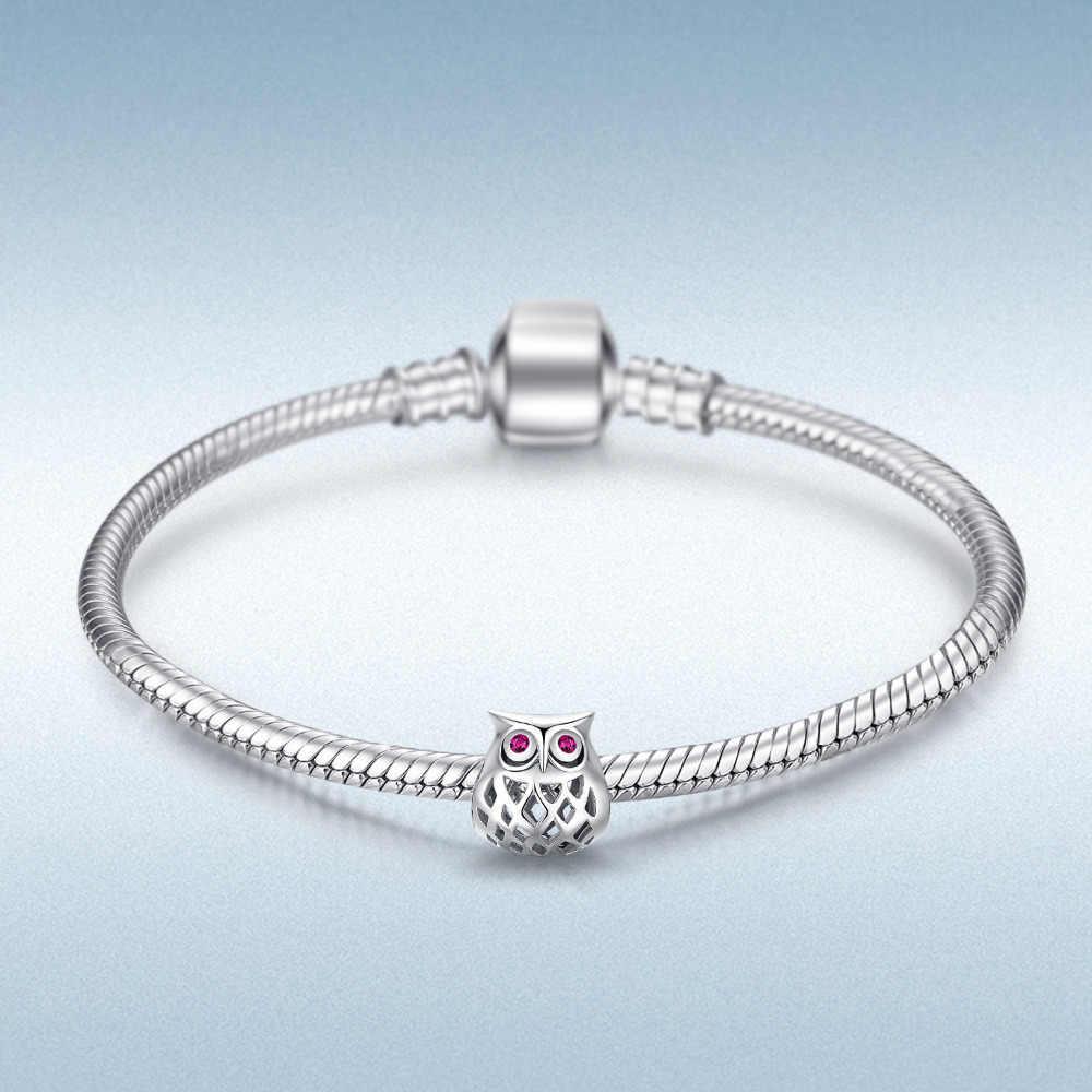 JewelryPalace 925 סטרלינג כסף חלול ינשוף חרוזים קסמי כסף 925 מקורי Fit צמיד כסף 925 מקורי תכשיטי ביצוע