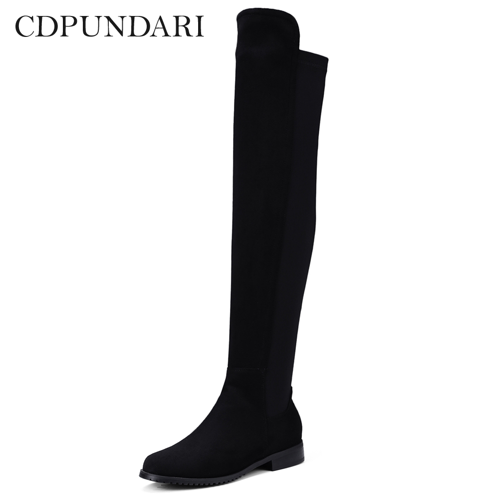 a08597273e Detail Feedback Questions about CDPUNDARI Stretch Fabric over the knee  boots women thigh high boots Low Heel boots shoes woman botas mujer bottine  femme on ...