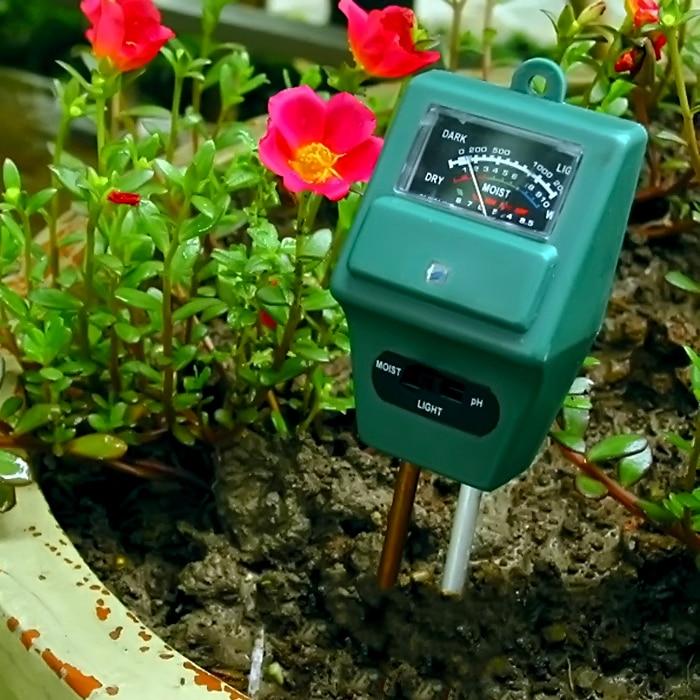 50 pieces 3 in 1 Plant Flowers Soil Test Kits PH Tester Moisture Meter Light Illuminance